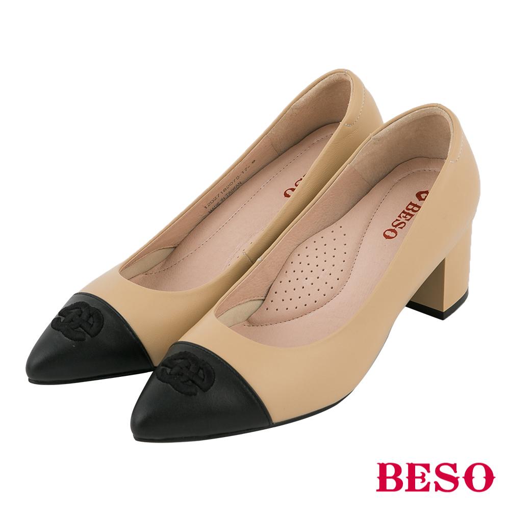 BESO 氣質典雅 全真皮撞色粗跟鞋~卡其