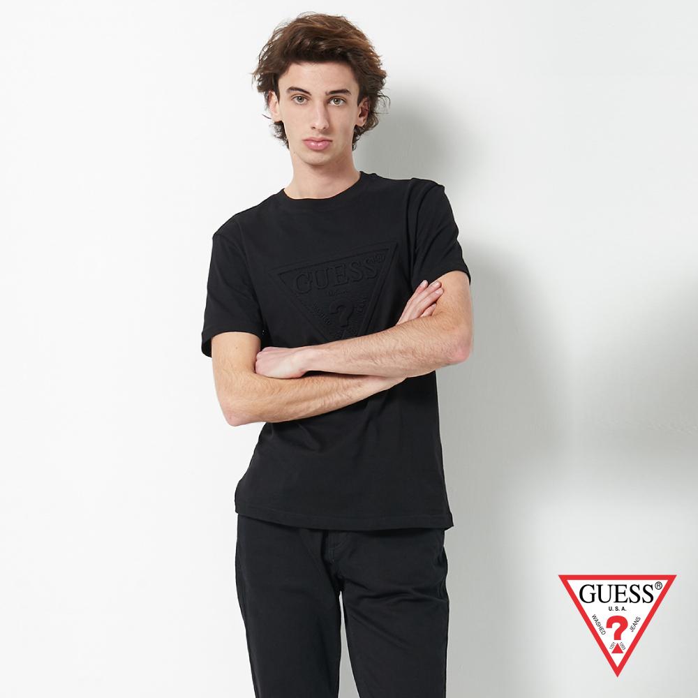 GUESS-男裝-浮雕經典LOGO短T,T恤-黑 原價1390