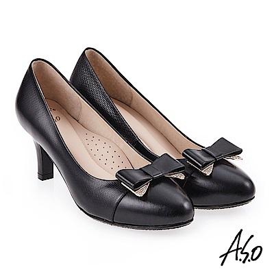 A.S.O 雅緻魅力 職場通勤優雅蝴蝶結高跟鞋 黑