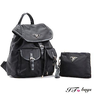 It Bags 日系機能學院束口尼龍後背二件組  經典黑