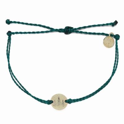 Pura Vida 美國手工 WANDER金色漫遊 綠色蠟線可調式衝浪手環