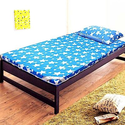 Gloria  珊瑚絨竹炭8cm記憶床墊 雙人(送珊瑚絨枕墊) 水藍色