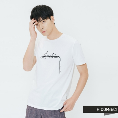 H:CONNECT 韓國品牌 男裝-簡約草寫文字T-shirt-白