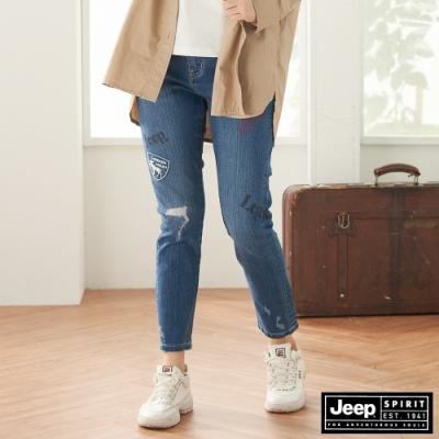 Jeep 女裝 時尚刷破修身九分牛仔褲-藍色