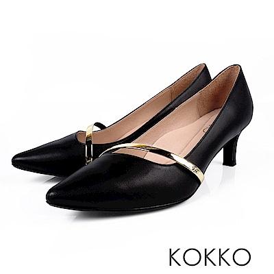 KOKKO - 歲月靜好真皮金屬尖頭高跟鞋-簡單黑