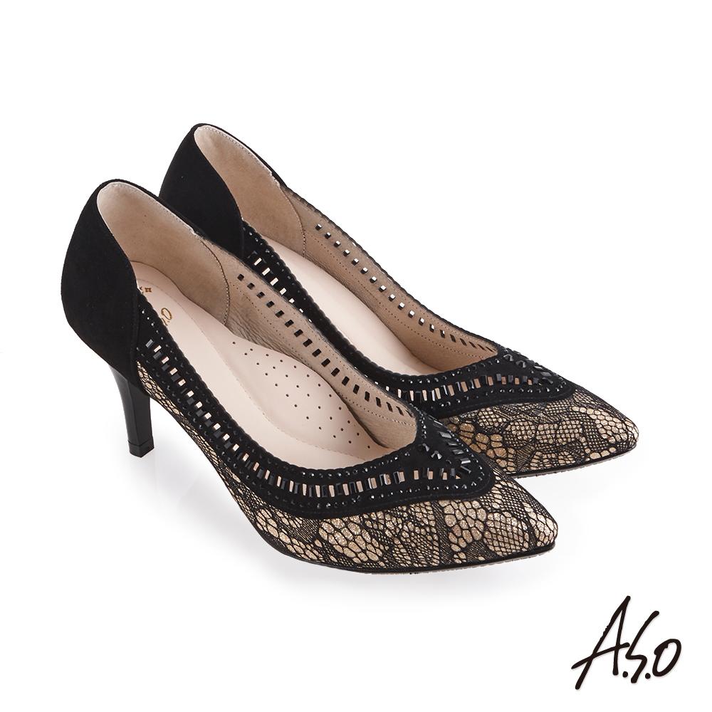 A.S.O 流金歲月 蕾絲布料拼接羊皮高跟鞋 金