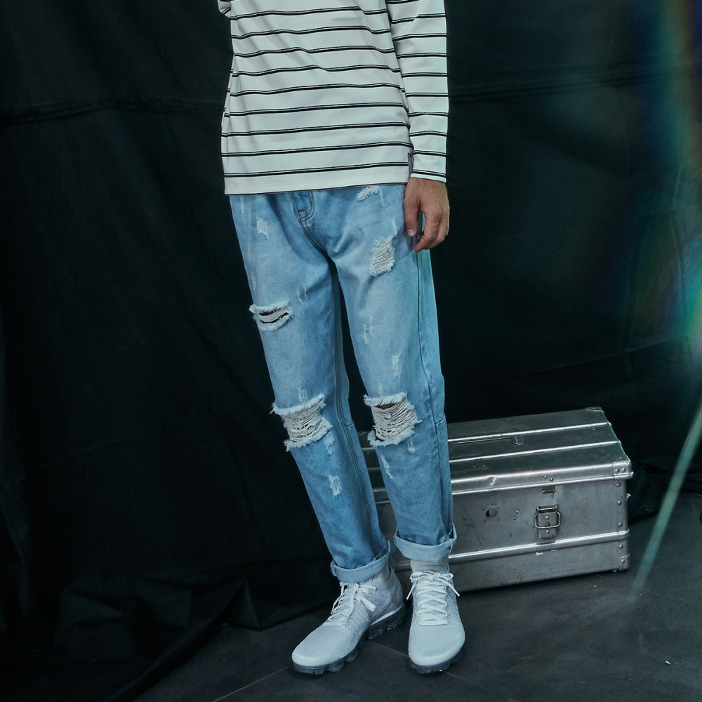 CACO-拉鏈破壞牛仔褲-情侶款-男-【QNC023】