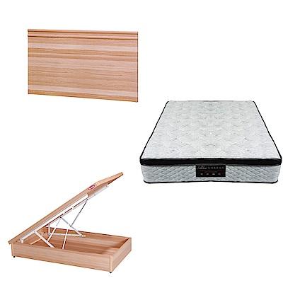 綠活居 可娜3.5尺單人床台三式組合(床頭片+後掀床底+正三線涼感獨立筒)五色可選