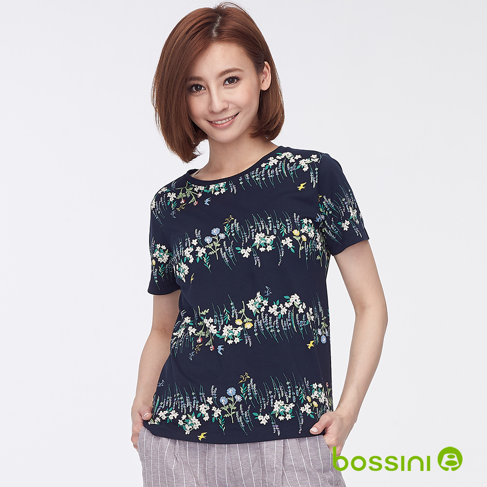 bossini女裝-圓領全版印花上衣03海軍藍