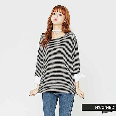 H:CONNECT 韓國品牌 女裝-袖口設計細條紋上衣-黑