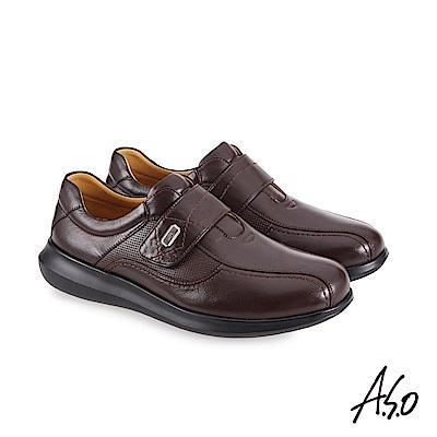 A.S.O機能休閒 萬步健康鞋 魔鬼黏款商務休閒鞋-咖啡