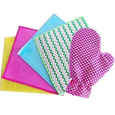 韓國熱銷犀利雙面擦巾四條+手套一個