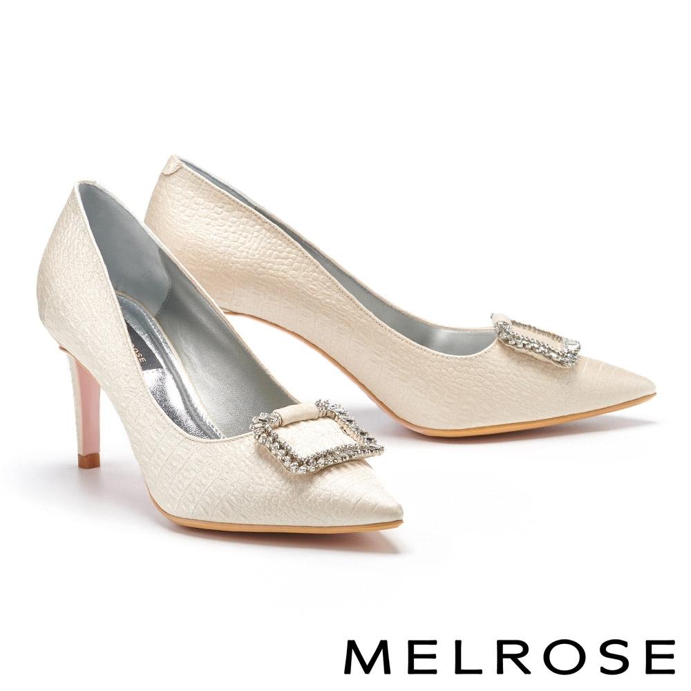 高跟鞋 MELROSE 華麗優雅方型鑽飾鱷魚紋造型尖頭高跟鞋-米