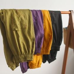 復古亞麻寬鬆顯瘦棉麻百搭薄九分褲子四色可選-設計所在
