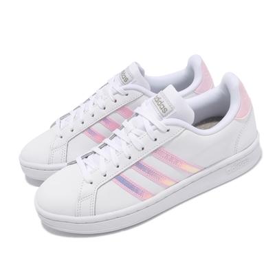 adidas 休閒鞋 Grand Court 運動 女鞋 愛迪達 基本款 舒適 簡約 球鞋 穿搭 白 粉 FY8925