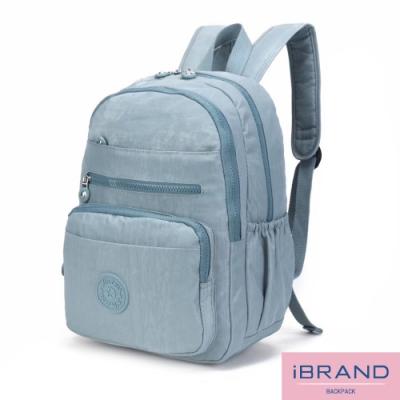 iBrand後背包 輕盈防潑水多口袋尼龍後背包-淺藍色