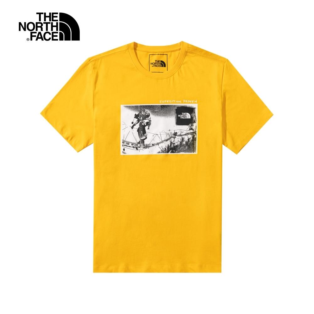 The North Face北面男女款黃色胸前印花短袖T恤 5B3K56P
