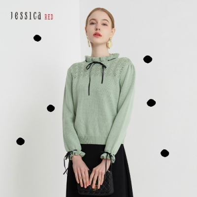 JESSICA RED - 鏤空針織花邊緞帶小立領毛衣(薄荷綠)