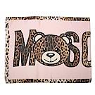 MOSCHINO 經典TOY小熊 豹紋飾邊莫代爾混絲薄圍巾-粉紅/咖啡色
