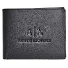 A|X ARMANI EXCHANGE 經典防刮壓紋品牌LOGO多卡片/證照短夾(黑)