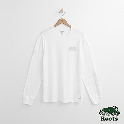 Roots 男裝- 左胸海狸長袖T恤-白