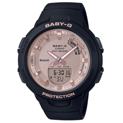 BABY-G 女孩運動生活記步藍芽錶-黑(BSA-B100MF-1A)/49.6mm