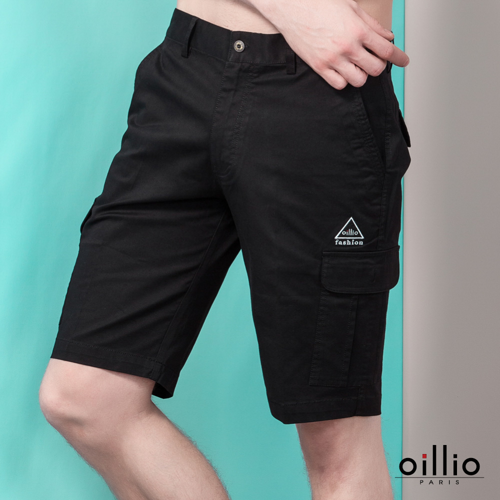 oillio歐洲貴族 休閒短褲 電腦刺繡 多口袋造型 黑色