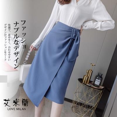 艾米蘭-韓版不規則開衩中長裙-2色(S-XL)