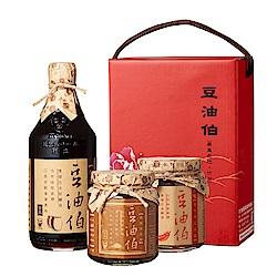 豆油伯 家常醬油醬料-缸底+金豆豉+辣豆瓣牡丹禮盒(3入/盒)
