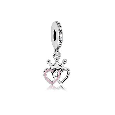 Pandora 潘朵拉 鑲鋯粉色搪瓷雙心 垂墜純銀墜飾 串珠