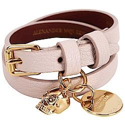 Alexander McQueen 經典骷髏頭牛皮手環(粉裸色)