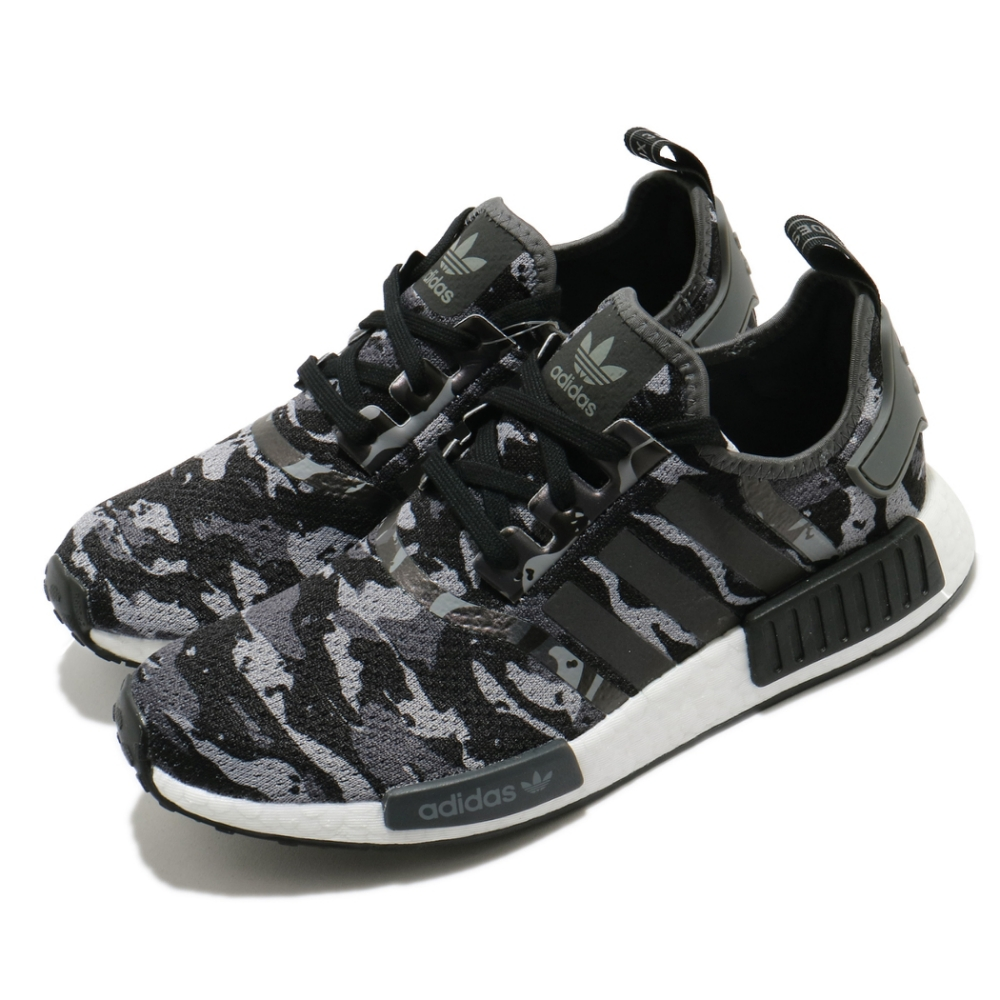 adidas 休閒鞋 NMD R1 襪套式 男鞋 愛迪達 三葉草 Boost底 穿搭 緩震 黑 灰 FZ0077