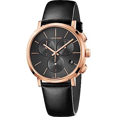Calvin Klein CK Posh 計時手錶-玫瑰金框x黑/42mm