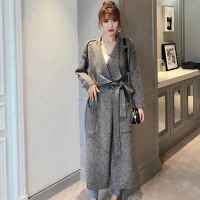 【KISSDIAMOND】時尚混色顯瘦大翻領百搭毛衣外套(文青/百搭/氣質/KDC-6066)