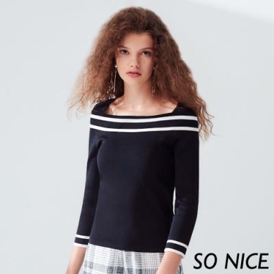 SO NICE時尚撞色造型領針織上衣