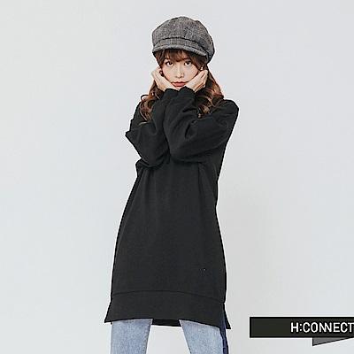 H:CONNECT 韓國品牌 女裝-後背圖像長板帽T-黑