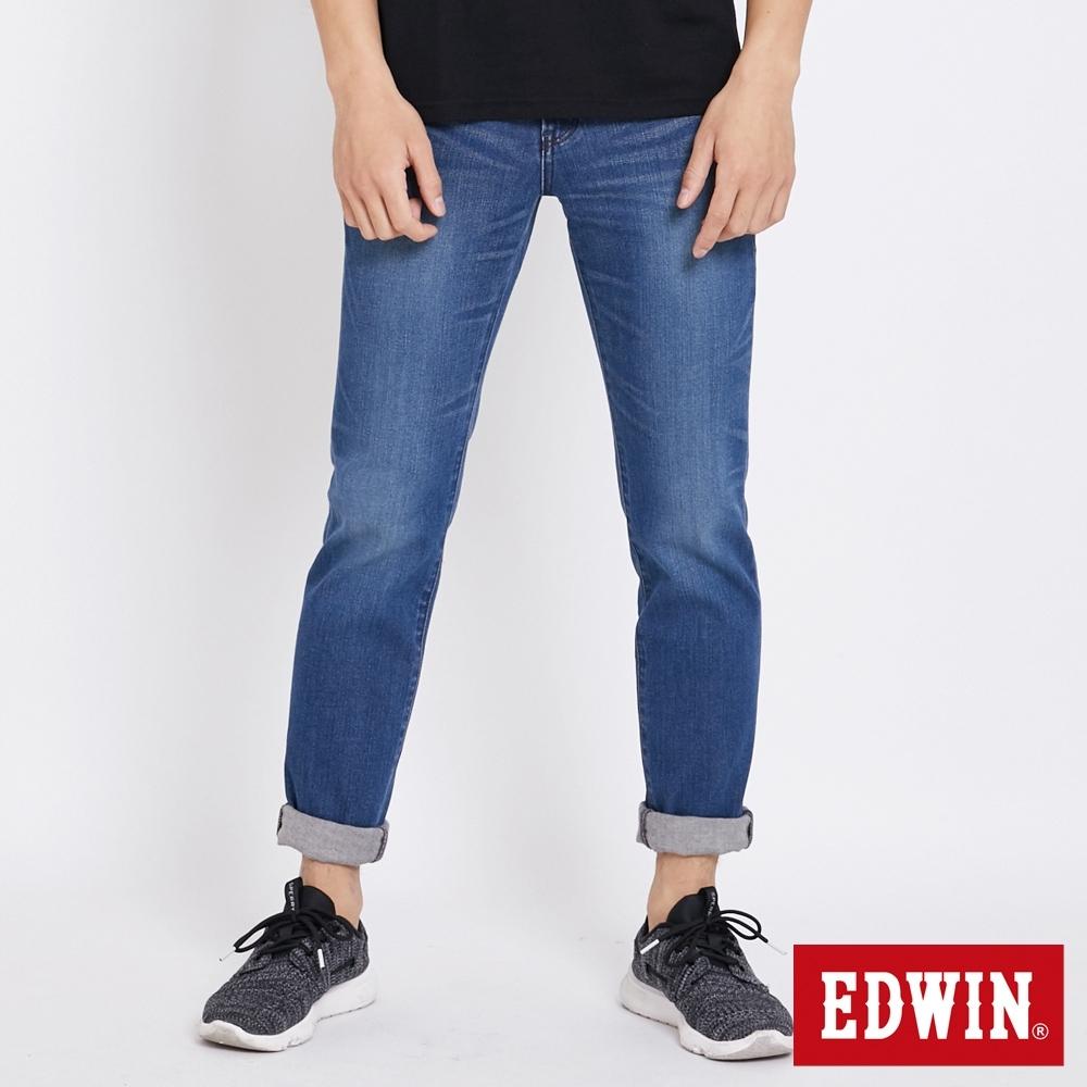 EDWIN 503 大尺碼 基本水洗刷色 窄管牛仔褲-男-石洗藍