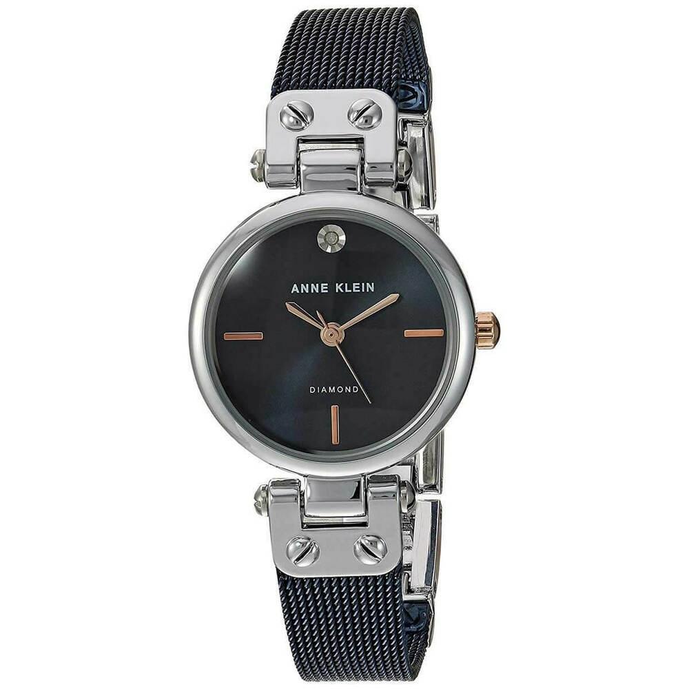 Anne Klein 費雪小步圓舞曲鑽眼腕錶-灰黑x26mm