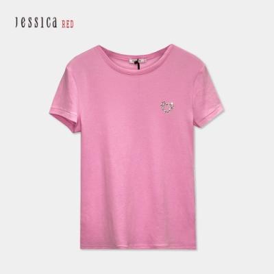 JESSICA RED - 粉色經典圓領修身純棉愛心鑽設計短袖T恤