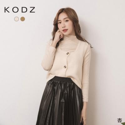 東京著衣-KODZ 實在划算微高領內搭+針織排釦背心二件式上衣(共二色)