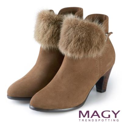 MAGY 暖冬時尚 2WAY可拆式水貂毛真皮高跟短靴-可可