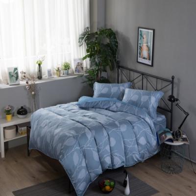 夢工場維縵花葉40支紗萊賽爾天絲四件式兩用被床包組-特大
