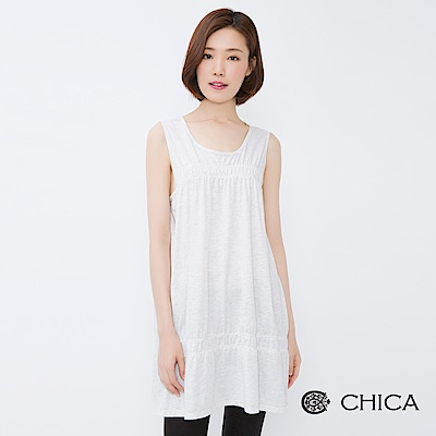 CHICA 美好提案抓皺設計長版無袖上衣(2色)