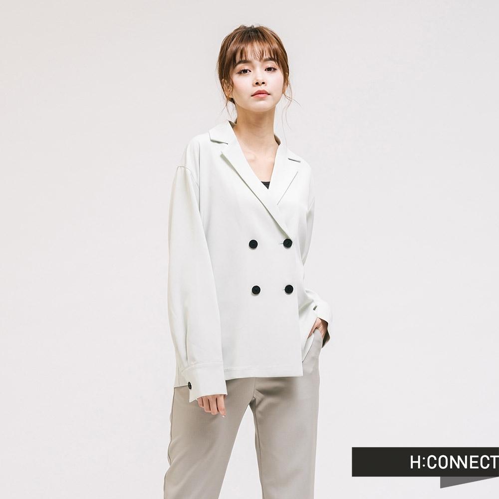 H:CONNECT 韓國品牌 女裝-質感翻領西裝外套-淺綠