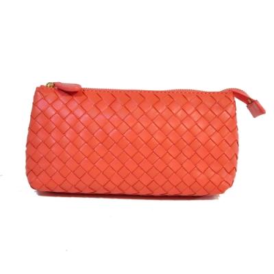 Miyo進口羊皮手工編織手拿包(橙)