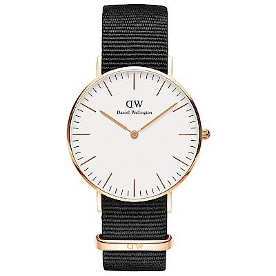 DW Daniel Wellington 時尚康沃爾黑NATO錶帶石英腕錶-金框/36mm