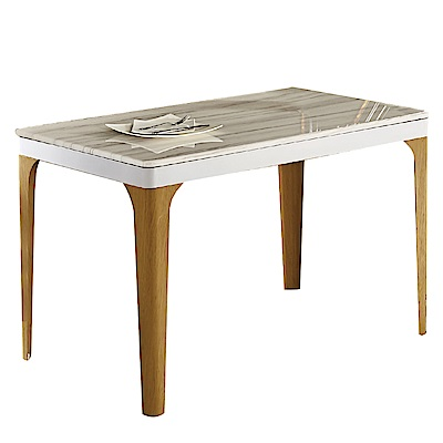 文創集 歌斯威時尚4尺雲紋石面餐桌(不含餐椅)-120x70x75cm免組