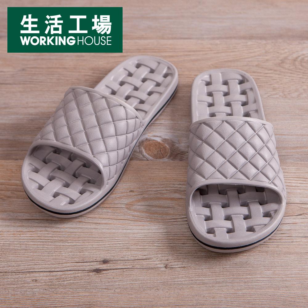【生活工場】EVA經典排水浴室拖鞋-淺灰M