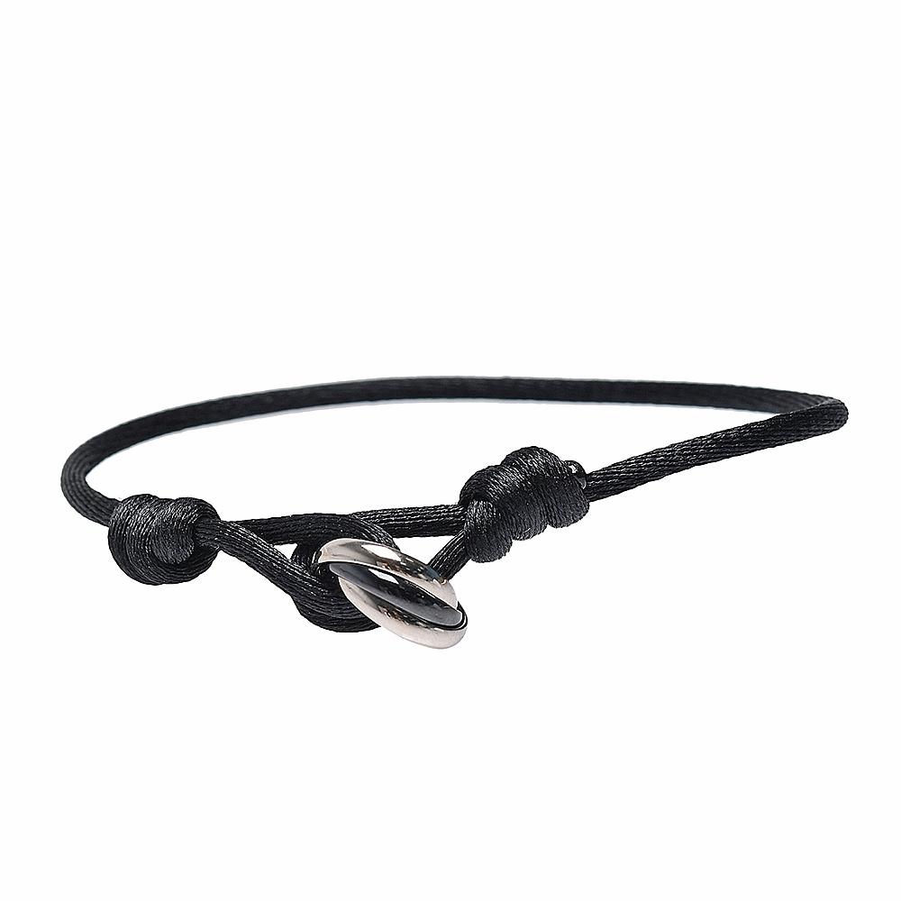 Cartier 經典TRINITY系列三環絲繩手環(黑)