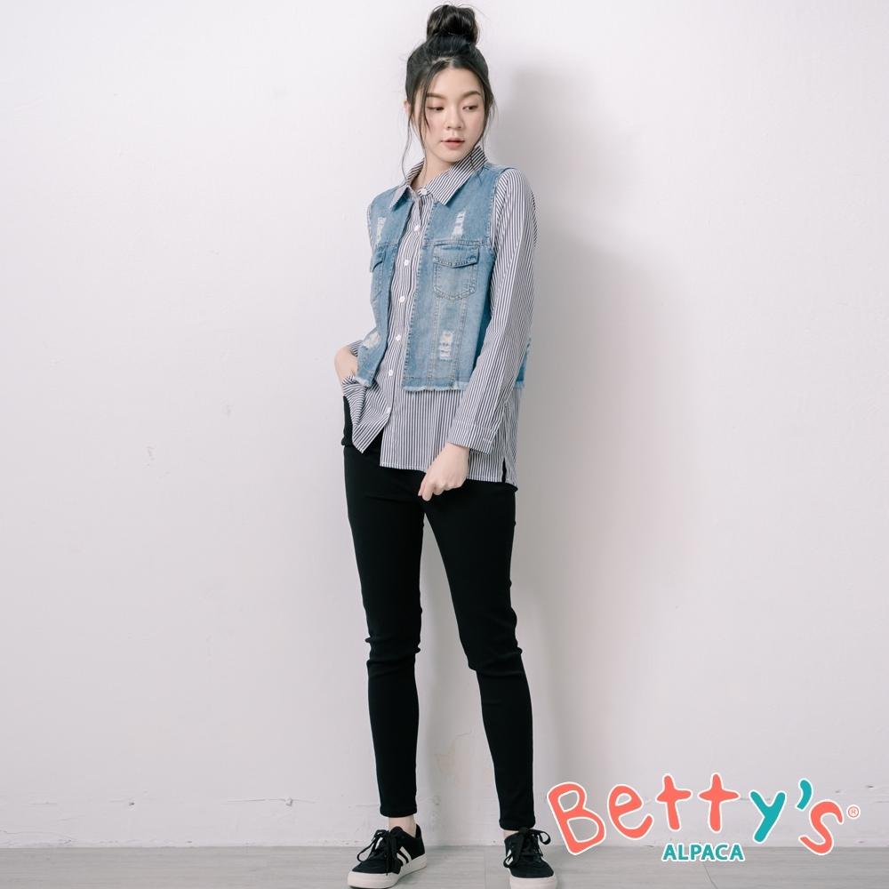 betty's貝蒂思 腰間鬆緊彈性窄管褲(黑色)